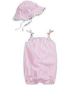 Ralph Lauren Baby Girls Striped Cotton Shortall & Sun Hat Set