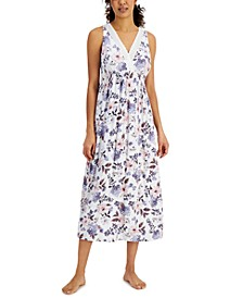 Sleeveless Lace-Trim Printed Nightgown, Created for Macy's