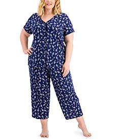 Plus Size Cotton Capri Pant Pajama Set, Created for Macy's