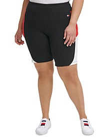 Plus Size High-Rise Curve Colorblocked Tight Shorts