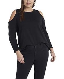 Women's Plus Size Long Sleeve Cold Shoulder Snap Top