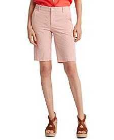 Petite Seersucker Fitted Shorts