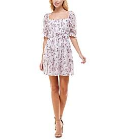 Juniors' Printed Puff-Sleeve Dress