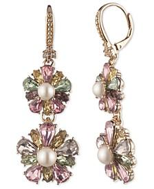 Gold-Tone Cubic Zirconia & Imitation Pearl Flower Double Drop Earrings