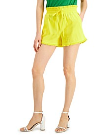 INC EARTH Paper-Bag Waist Shorts, Created for Macy's