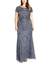 Plus Size Blouson Sequin Gown
