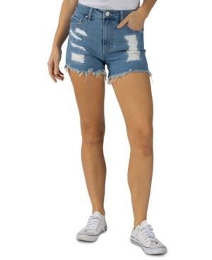 Juniors' Curvy Frayed-Hem Denim Shorts