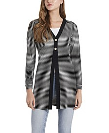 Petite Long Sleeve Mini Stripe Cardigan