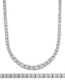 Diamond Link Tennis Bracelet & Necklace Jewelry Collection in Sterling Silver, Created for Macy's