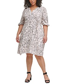 Plus Size Floral-Print Surplice-Neck Challis Dress
