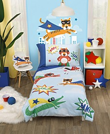 Super Hero Caped Wild Animals 4 Piece Toddler Bed Set