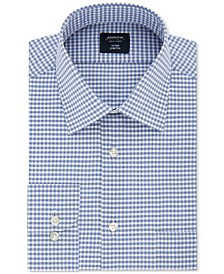 Men's Fitted Wrinkle-Free Performance Stretch Ink Blue Check Dress Shirt