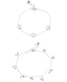 Silver-Tone 2-Pc. Set Flower & Shaky Bead Ankle Bracelets