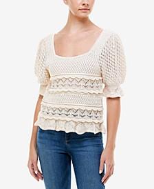 Crocheted Short-Sleeve Sweater Top