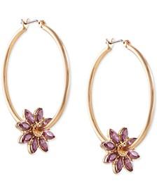 """Gold-Tone Purple Crystal Flower Medium Hoop Earrings, 1.5"""""""