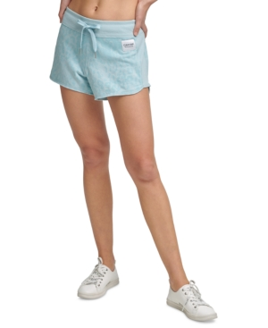 Calvin Klein Printed French Terry Shorts In Bleached Aqua