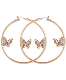 Gold-Tone Crystal Butterfly Large Hoop Earrings, 2""
