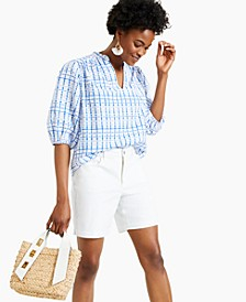 Printed Woven Split-Neck Top, Created for Macy's