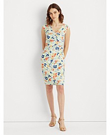 Petite Floral Pleated Jersey Dress