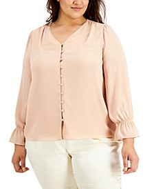 Plus Size Solid Button-Down Top, Created For Macy's