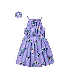 Toddler Girls All Over Print High-Neck Dress with Matching Hair Tie