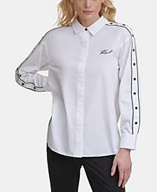 Contrast Button Snap Shirt