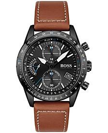 Men's Chronograph Pilot Brown Leather Strap Watch 44mm