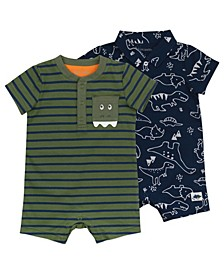 Baby Boys Romper with Dinosaur Print, 2 Pack