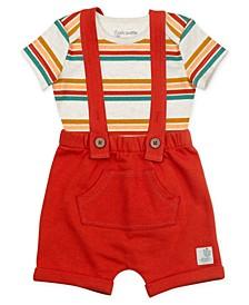 Baby Boys 2 Piece Shortall Set with Stripes