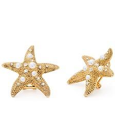 Gold-Tone Imitation Pearl Starfish Clip On Earrings