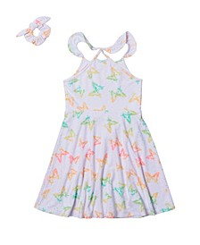 Big Girls All Over Print Eyelet Dress with Matching Scrunchie