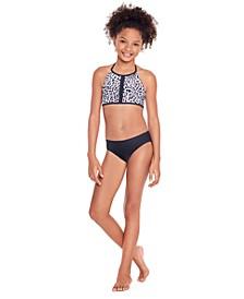 Big Girls Halter Bikini Set with Front Braid Detail, 2 Piece