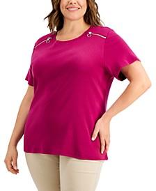 Plus Size Cotton Zipper-Shoulder T-Shirt, Created for Macy's