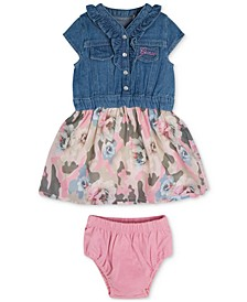 Baby Girls 2-Pc. Denim and Printed Chiffon Dress With Diaper Cover