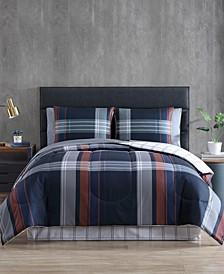CLOSEOUT! Sianan 8-Pc. Reversible Plaid Queen Comforter Set