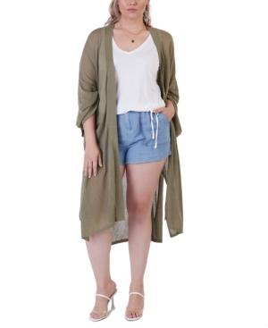 Plus Size Oversized Fine-Gauge Cardigan Sweater