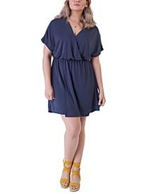 Plus Size Simple Knit Faux-Wrap Dress