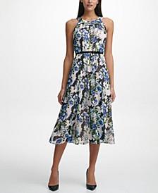 Belted Chiffon Midi Dress
