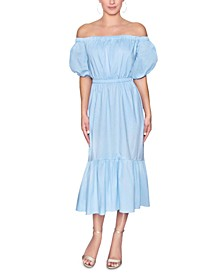Cotton Off-The-Shoulder Puff-Sleeve Dress