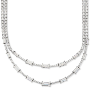 """Cubic Zirconia Layered 18"""" Statement Necklace in Sterling Silver"""