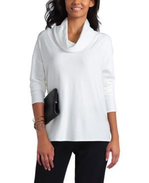 Women's Cowl Neck Lace Mix Sweater