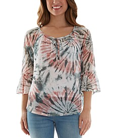 Juniors' Tie-Dyed Mesh Peasant Top