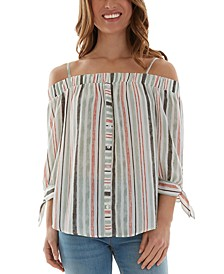 Juniors' Striped Cold-Shoulder Top