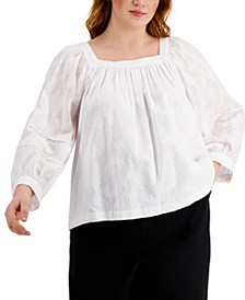 Plus Size Square-Neck Puff-Sleeve Top