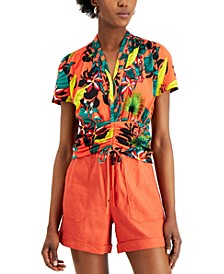 INC Petite Printed Ruched Top, Created for Macy's