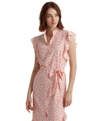 로렌 랄프로렌 Lauren Ralph Lauren Ruffled Floral Shirtdress,Is Hs/sl W