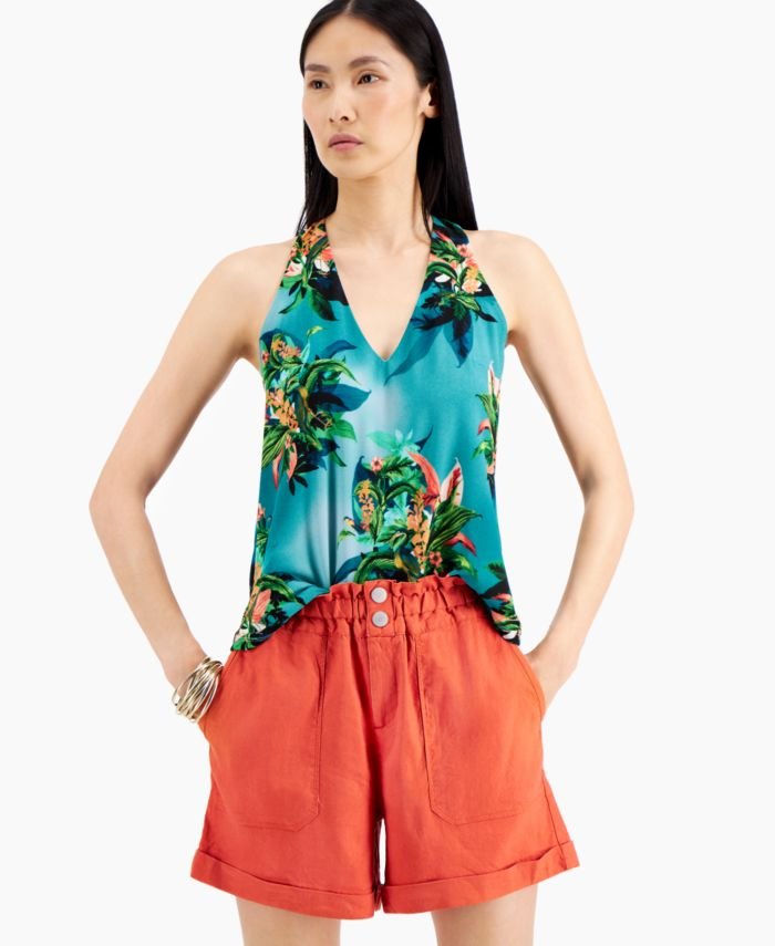 INC International Concepts INC Tropical-Print Halter Top, Created for Macy's & Reviews - Tops - Women - Macy's