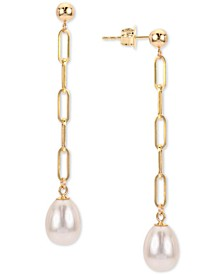 Cultured Freshwater Pearl (7-8mm) Paperclip Drop Earrings in 14k Gold