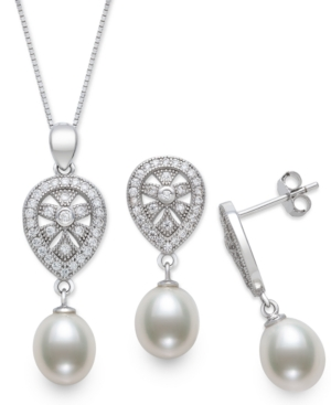 2-Pc. Set Cultured Freshwater Pearl (8mm) & Cubic Zirconia Teardrop Pendant Necklace & Matching Drop Earrings in Sterling Silver