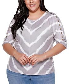 Belle By Plus Size Women's Printed Tie-Dye Stripe Grommet Dolman Top